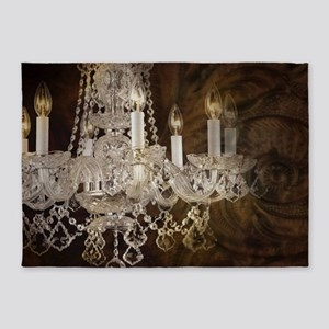 shabby chic vintage chandelier 5'x7'Area Rug