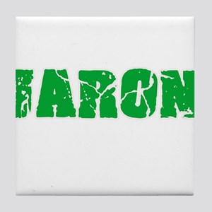 Jaron Name Weathered Green Design Tile Coaster
