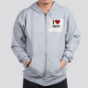 I Love Rotc Digital Design Zip Hoodie