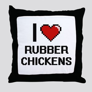 I Love Rubber Chickens Digital Design Throw Pillow