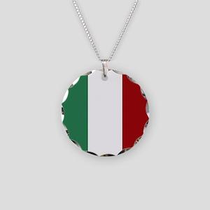 Italian Flag Necklace Circle Charm