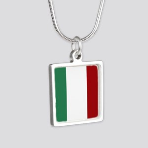 Italian Flag Silver Square Necklace