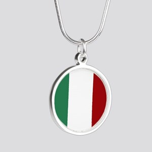 Italian Flag Silver Round Necklace
