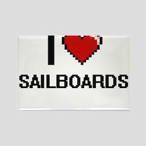 I Love Sailboards Digital Design Magnets