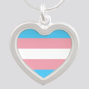Transgender Pride Flag Silver Heart Necklace