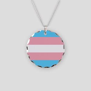 Transgender Pride Flag Necklace Circle Charm
