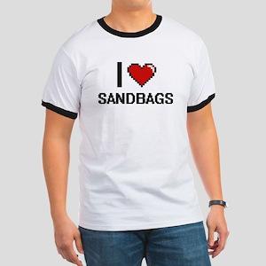 I Love Sandbags Digital Design T-Shirt
