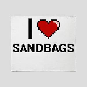 I Love Sandbags Digital Design Throw Blanket