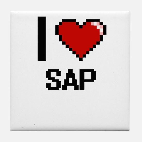 I Love Sap Digital Design Tile Coaster