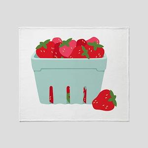Strawberries Basket Throw Blanket