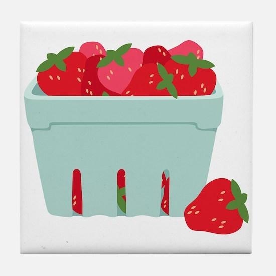 Strawberries Basket Tile Coaster