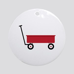 Red Wagon Round Ornament