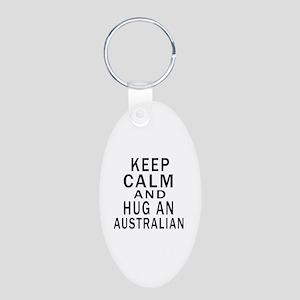 Keep Calm And Australian De Aluminum Oval Keychain