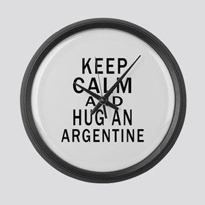Keep Calm And ARGENTINE or Design Large Wall Clock