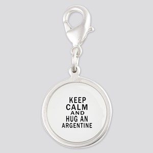 Keep Calm And ARGENTINE or Des Silver Round Charm
