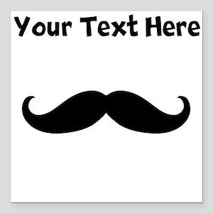 "Custom Mustache Square Car Magnet 3"" x 3"""