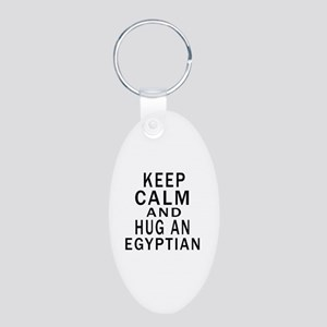 Keep Calm And Egyptian Desi Aluminum Oval Keychain