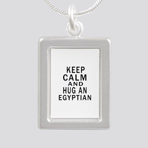 Keep Calm And Egyptian D Silver Portrait Necklace