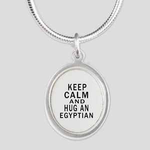 Keep Calm And Egyptian Design Silver Oval Necklace