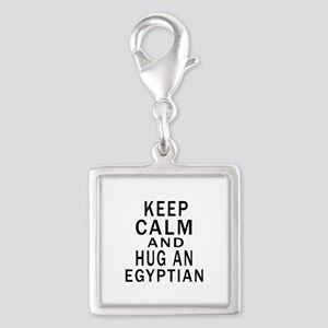 Keep Calm And Egyptian Design Silver Square Charm