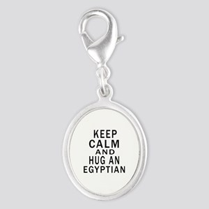 Keep Calm And Egyptian Designs Silver Oval Charm