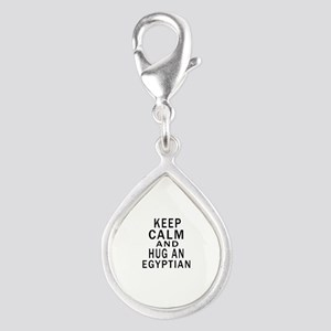Keep Calm And Egyptian Desi Silver Teardrop Charm