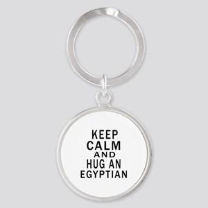 Keep Calm And Egyptian Designs Round Keychain