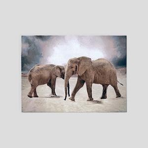 The Elephants 5'x7'Area Rug