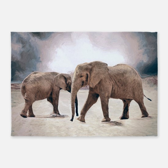 The Elephants 5'x7'Area Rug