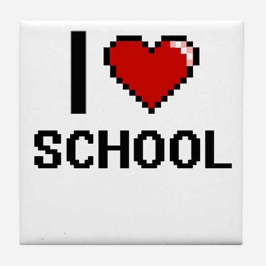 I Love School Digital Design Tile Coaster