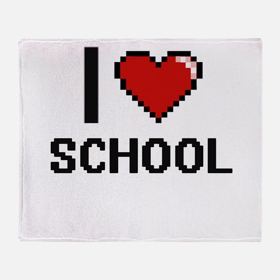 I Love School Digital Design Throw Blanket