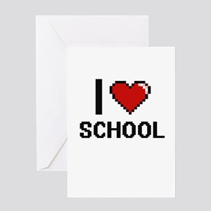 I Love School Digital Design Greeting Cards