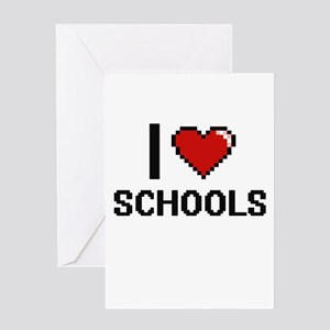 I Love Schools Digital Design Greeting Cards