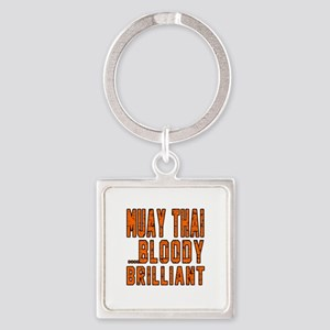 Muay Thai Bloody Brilliant Designs Square Keychain