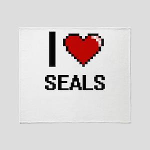 I Love Seals Digital Design Throw Blanket