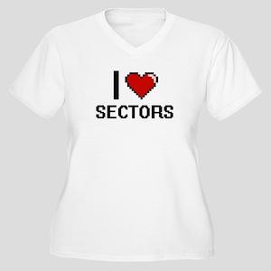 I Love Sectors Digital Design Plus Size T-Shirt