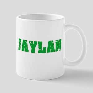 Jaylan Name Weathered Green Design Mugs