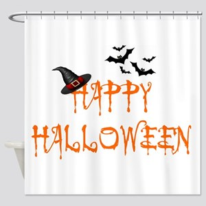 HAPPY HALLOWEEN - WITH WITCH'S HAT  Shower Curtain