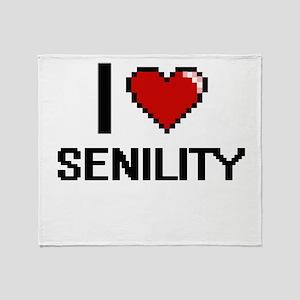 I Love Senility Digital Design Throw Blanket