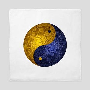 Blue Yellow Demon Yin Yang Queen Duvet
