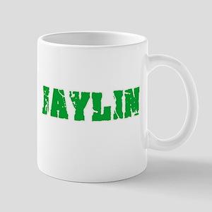 Jaylin Name Weathered Green Design Mugs