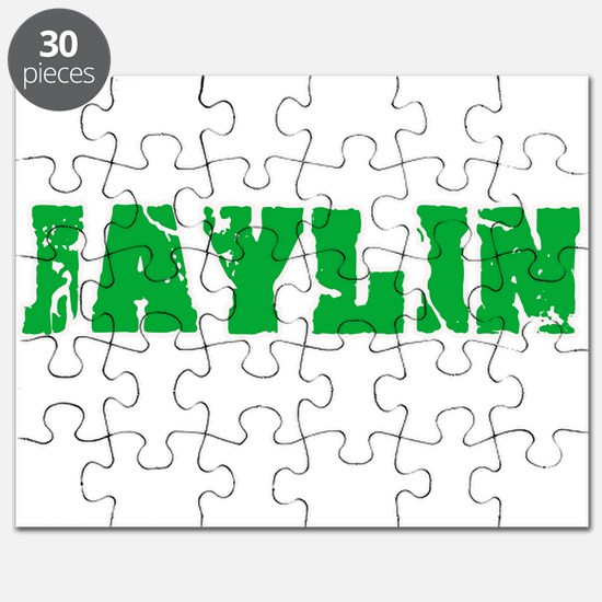 Jaylin Name Weathered Green Design Puzzle