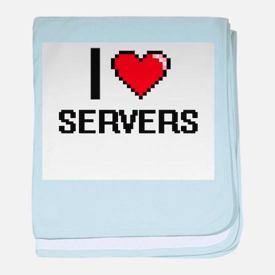 I Love Servers Digital Design baby blanket