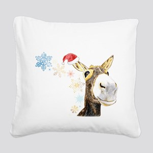 Christmas-Donkey Square Canvas Pillow