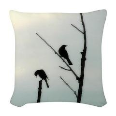 Two Birds Woven Throw Pillow