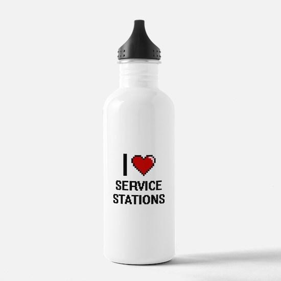 I Love Service Station Water Bottle