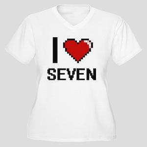 I Love Seven Digital Design Plus Size T-Shirt