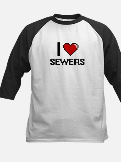 I Love Sewers Digital Design Baseball Jersey