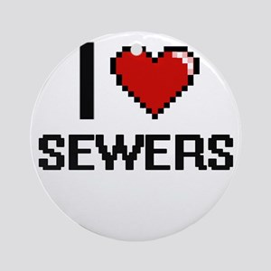 I Love Sewers Digital Design Round Ornament