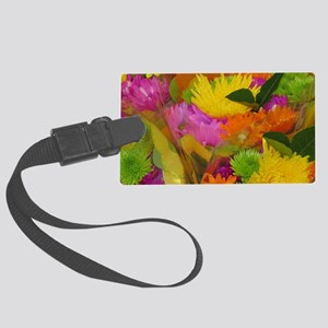 Neon bouquet Large Luggage Tag